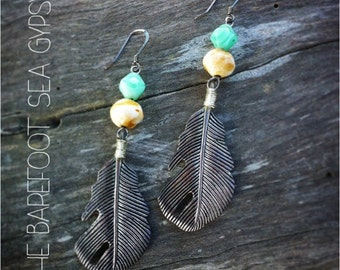 Bohemian Silver Feather Earrings
