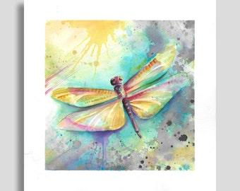 Dragonfly Watercolor Art Print
