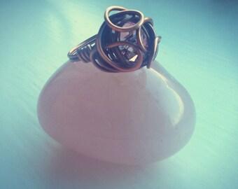 Rosebud Ring in Copper with pink swarovski crystal