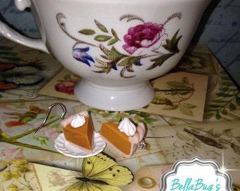 Handmade Polymer Clay Pumpkin Pie Earrings