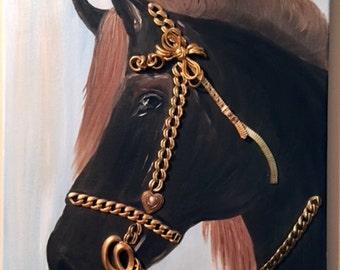 Original Oil Painting Canvas Horse Mini Pony Mixed Media Vintage Jewelry Signed Portrait Fine Art