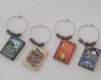 Classic Books / Set 1 Wine Charms  - Romeo and Juliet, King Arthur, Peter Pan and Wuthering Heights