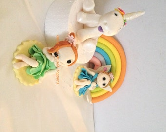 Gluten Free Edible Fondant 9cm Unicorn Rainbow Fairy Set with Name and Age Cake topper set