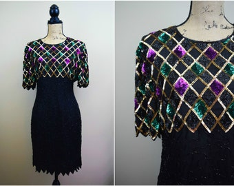 1980s Sequined Silk Party Dress Mark & John by Gopal