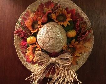 Autumn straw hat wreath