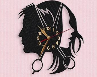 Hairdresser's Parlor Beauty Salon Wood Wall Clock 12inch(30 cm), Hairdressing Salon, Barber Shop, Hair Salon Scissors Clock #68