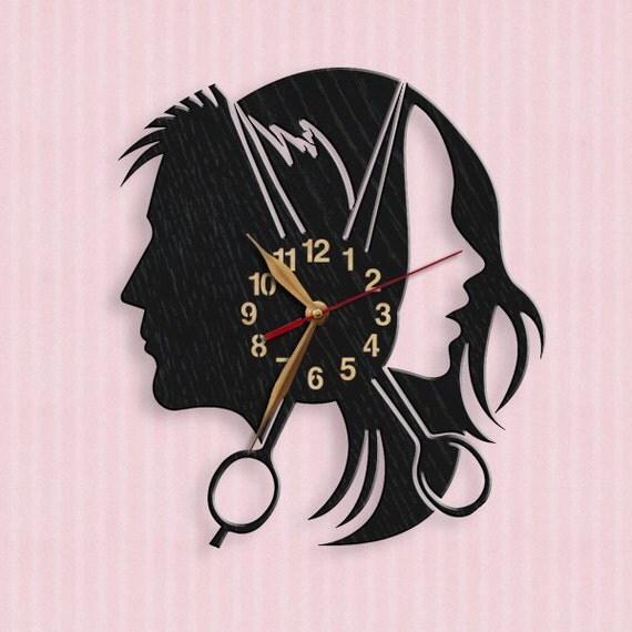 hairdresser 39 s parlor beauty salon wood wall clock. Black Bedroom Furniture Sets. Home Design Ideas