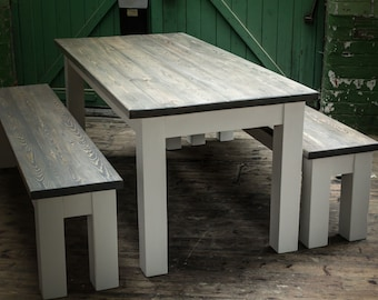 FURTHER REDUCED Modern Chunky Rustic 6x3 Dining Table and Benches - Farrow & Ball finish