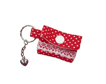 Key chain Mini purse for Essengeld dots Red