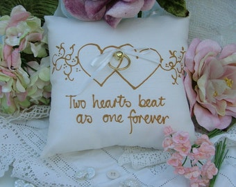 Hand painted pillow - Two hearts beat as one forever