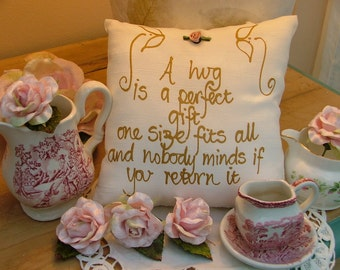 Hand painted friendship pillow - A hug is a perfect gift