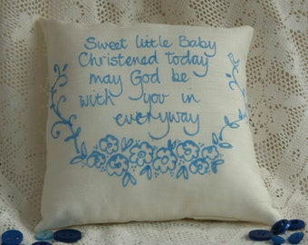 Hand painted baby pillow - Christening (boy)