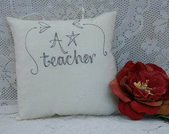 Hand painted pillow - A* Teacher
