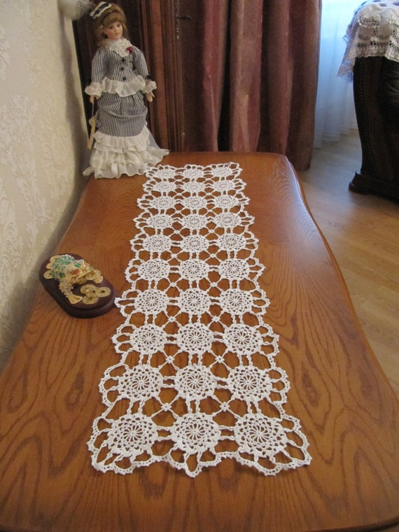 Crochet Table Runner : lace table runner Large crochet table runner Table decor Big crochet ...