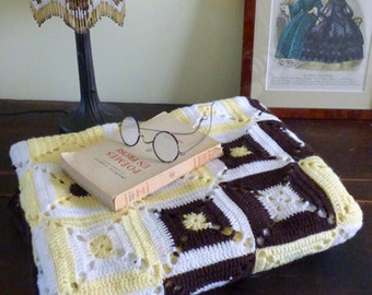 Cover / yellow and Brown Plaid crochet