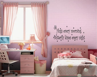 Butterfly Kisses...Wall Quotes, Inspirational Quote, Baby, Love, Sayings, Phrases, Decals