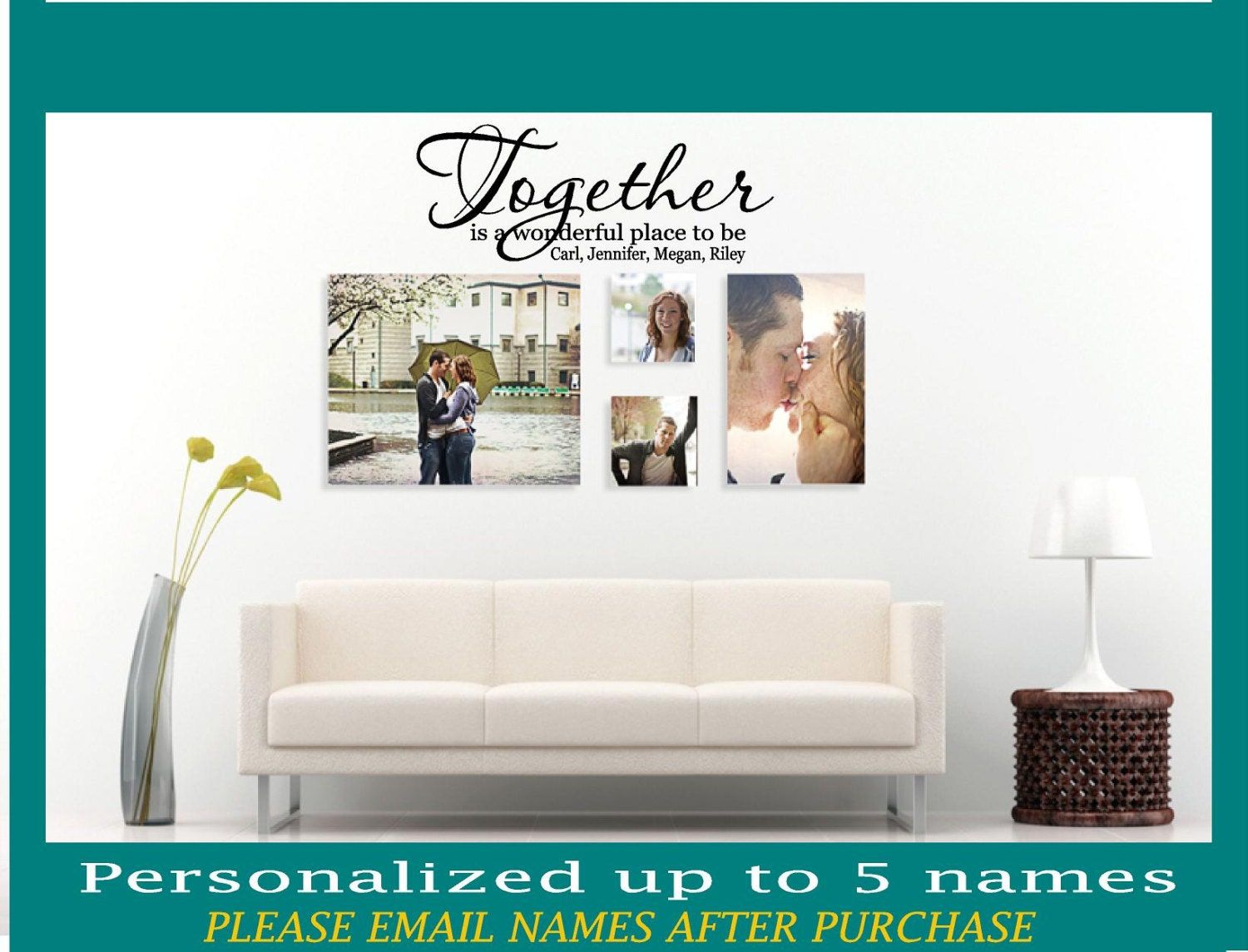 Personalized Together Is A Wonderful Place To Be Wall Decal