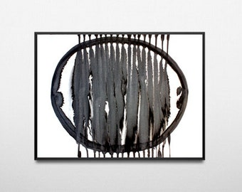 A3 modern abstract drawing black and white abstract art