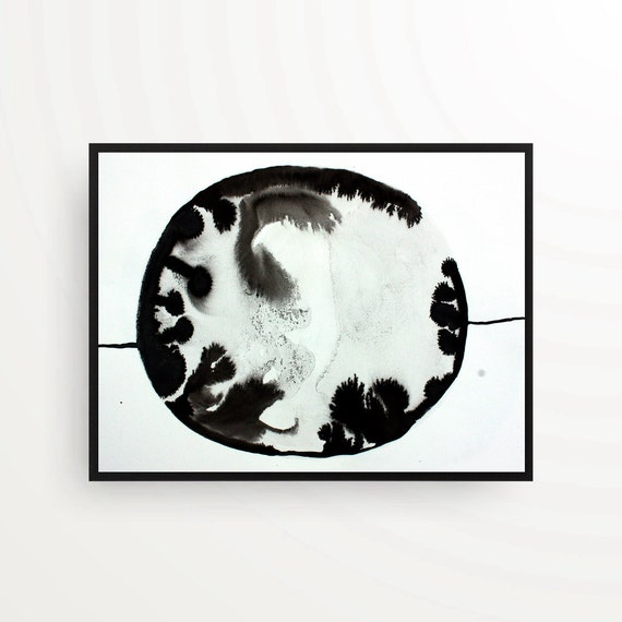 A3 contemporary drawing abstract art black and white minimal