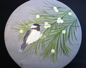 Cora The Chickadee - Hand Painted Re Purposed Wood Cheese Box. Uses: Gift Box, Storage, Organization, Decor, and focal point of a vignette.