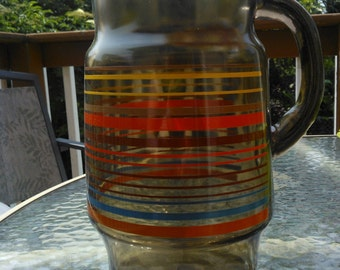Vintage Brown Juice Pitcher with Stripes,  Retro Glass Pitcher 1970s