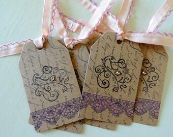 Frenchscript Gift Tags, Vintage Gift Tag,Wedding Gift Tag, Valentine Gift Tag, Wedding Favor, Wedding keepsake Tag,Vintage Rose Gift