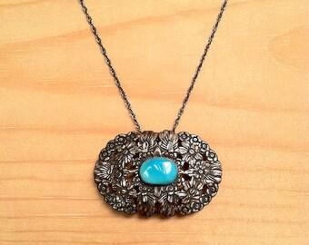 Vintage Pressed Floral Sterling Pendant Necklace