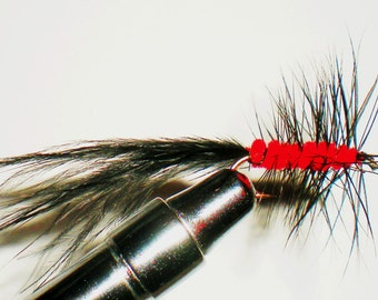 Red and Black Wooly Bugger, Hand Tied Flies, Fishing Lures, Size 8