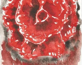 Watercolour original red flower