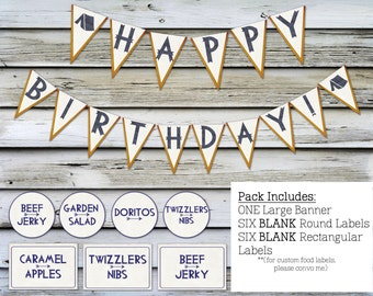 Camper Birthday Printables - Camping Party - Banner - Food Labels - Instant Download