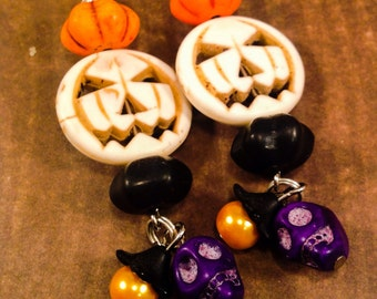 Halloween Earrings, Pumpkin Earrings, Jack O Lantern Earrings, Skull Earrings, Halloween Party