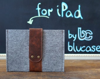 Felt Case for iPad Air with Leather strap closure. Leather Cover for iPad Air 1 2. iPad Air Sleeve Bag made of felt & leather