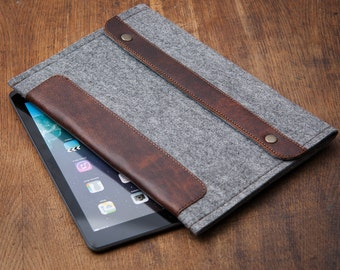 "Grey Felt Google Nexus case. Cover for google nexus 9. Leather Sleeve with pocket for google nexus 9"" Google Nexus 9 case."