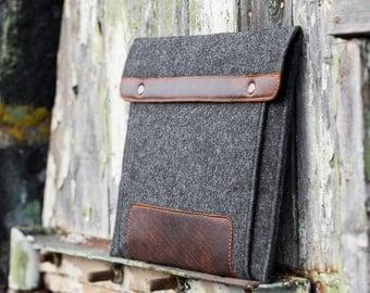 "Dark Felt iPad Pro Case with extra felt pocket and leather strap. Leather Cover for iPad Pro 12.9"" . iPad Pro Sleeve made of felt & leather"