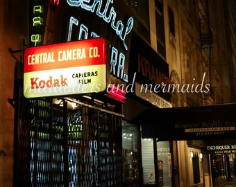 Central Camera Store Front Photograph, Chicago, Neon lights, Photography, Windy City, Second City, Printed on Luster Paper