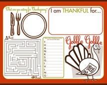 Thanksgiving Children's Activity Placement // Children's Activity Card// I am Thankful for