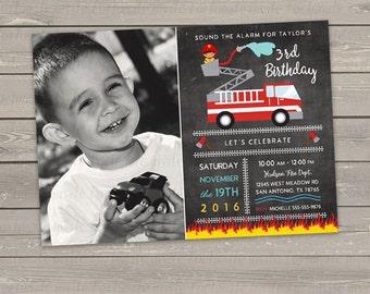 firetruck birthday invitation, red firetruck invitation printable, fireman birthday invitation boy, fireman party invites add photo