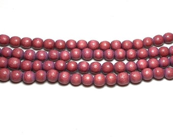 red wooden bead 100 pcs 8 mm