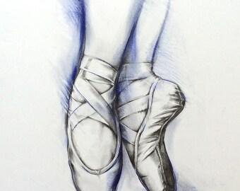 Ballet  Dance Pointe Shoes Illustration ORIGINAL drawing Ballet Art
