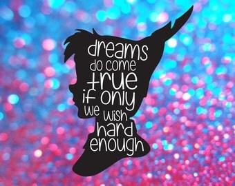 Peter Pan Silhouette, Peter Pan Svg, Peter Pan Wall Decal, Peter Pan Quote, Peter Pan Wall Art, Peter Pan Decal, Peter Pan Die Cut, Download