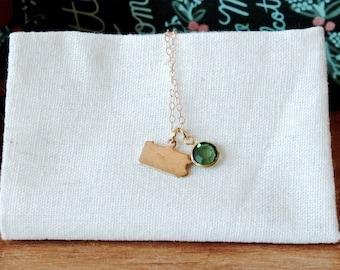 Tiny Pennsylvania Birthstone Necklace