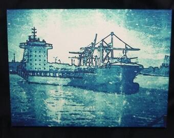 Hamburg harbour, ship - original art print on canvas 40 x 30 cm piece