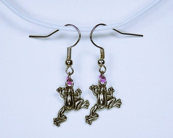 Earrings frog - frogs with pink beads - Silver earrings hanging earrings pink jewelry