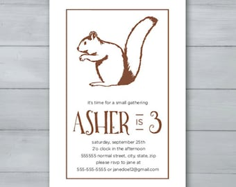 Squirrel Birthday Party Invitation  |  Squirrel Party Invite  |  Nuts Birthday Invitation