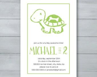 Turtle Birthday Party Invitation  |  Turtle Invite  |  Turtle Birthday Invite
