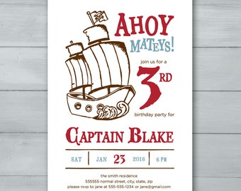Pirate Birthday Party Invitation  |  Pirate Ship Birthday Invite  |  Ahoy Mateys! Pirate Birthday Invitation