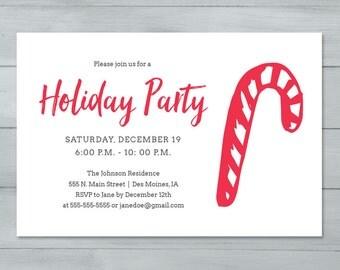 Holiday Party Invitation  |  Candy Cane Invitation  |  Holiday Invite  |  Christmas Invitation
