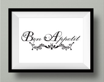 Bon Appetit Printable Wall Art french wall home decor poster print INSTANT DOWNLOAD
