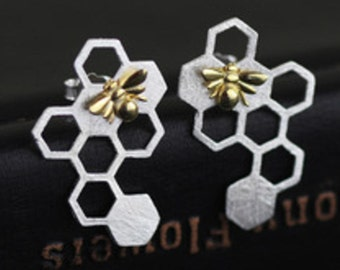 Bee Hive Sterling Silver and Gold-Plated Earrings