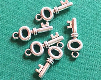Wholesale 50pcs Antique Silver Mini Key Charm Pendants 8x20mm WA109-6